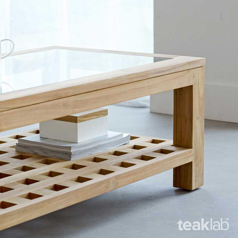 Buy Rectangular Teak Coffee Table with Design Online   TeakLab