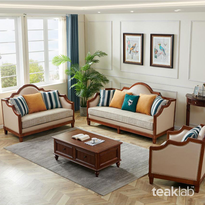 Classic Indian Teak Wood Sofa Set, Living Room Teak Wood Sofa Set Designs Pictures